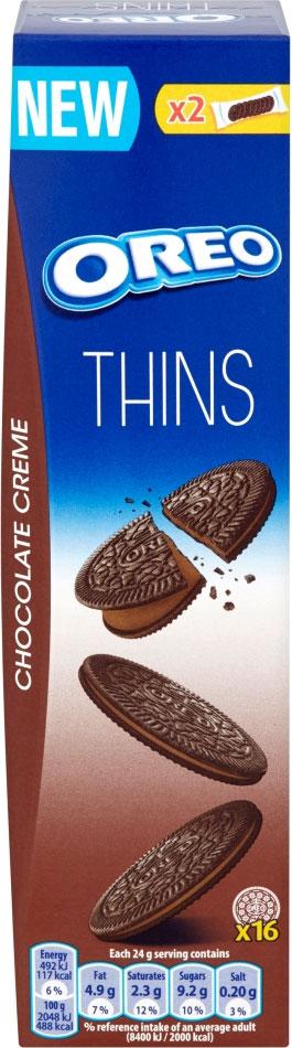 Oreo Thins Original Sandwich Biscuits (96g) / Oreo Thins Chocolate Creme Sandwich Biscuits (96g) was £1.00 now 50p @ Sainsbury's