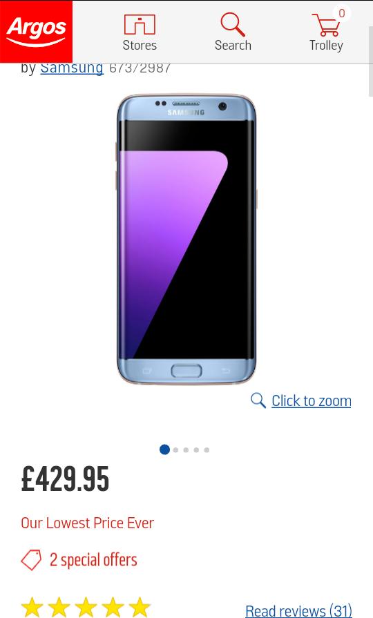 SIM free Samsung Galaxy S7 Edge now £449.95 @ Argos