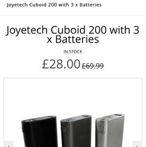 Vape Mod. Joyetech Cuboid 200 with 3 x Batteries £28