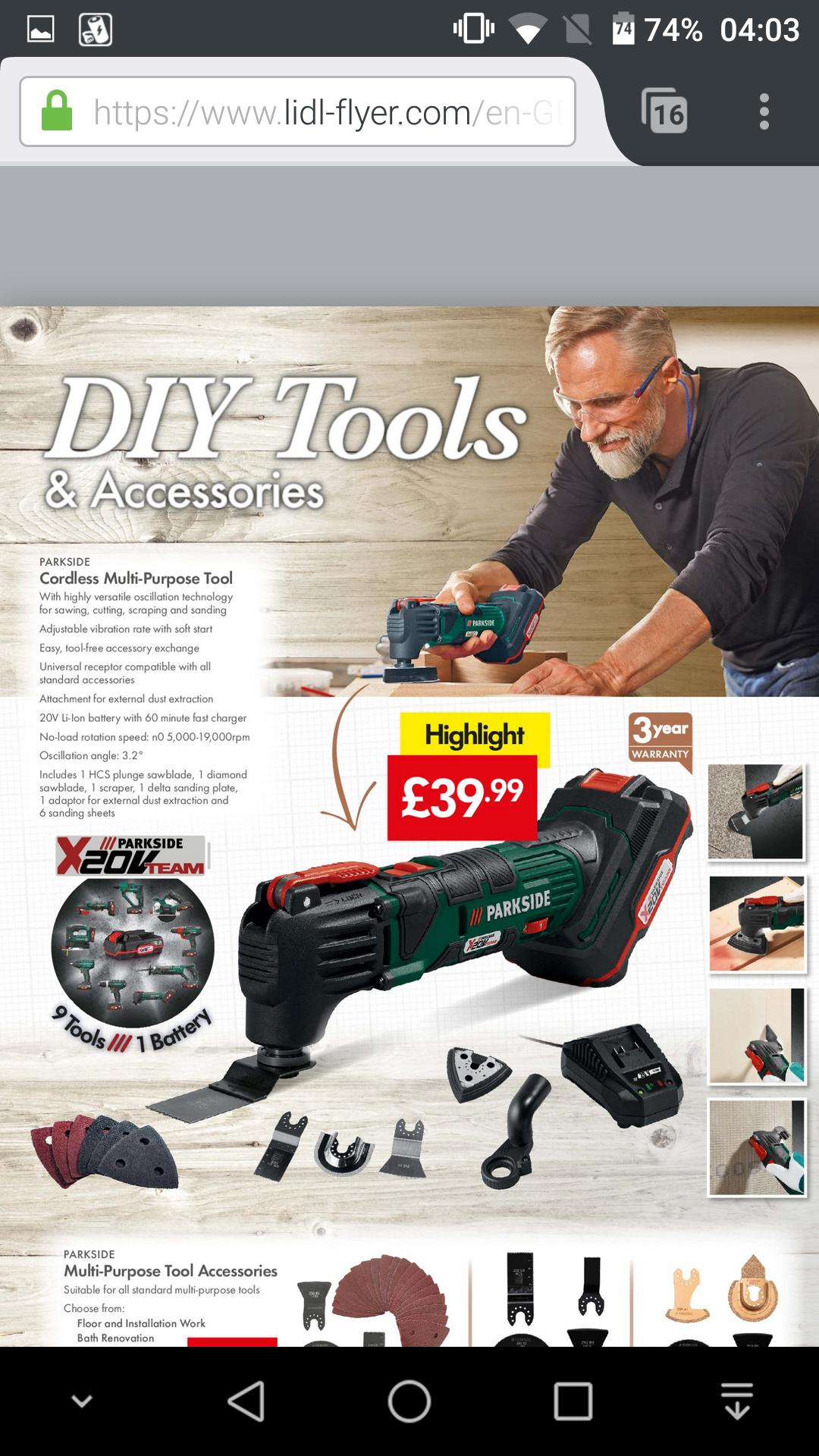 Parkside 20volt cordless multi-tool @ lidl - £39.99