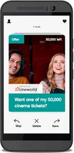 FREE Cineworld Cinema Tickets - 50,000 available from 8.30AM Today in the Wuntu App for THREE network customers