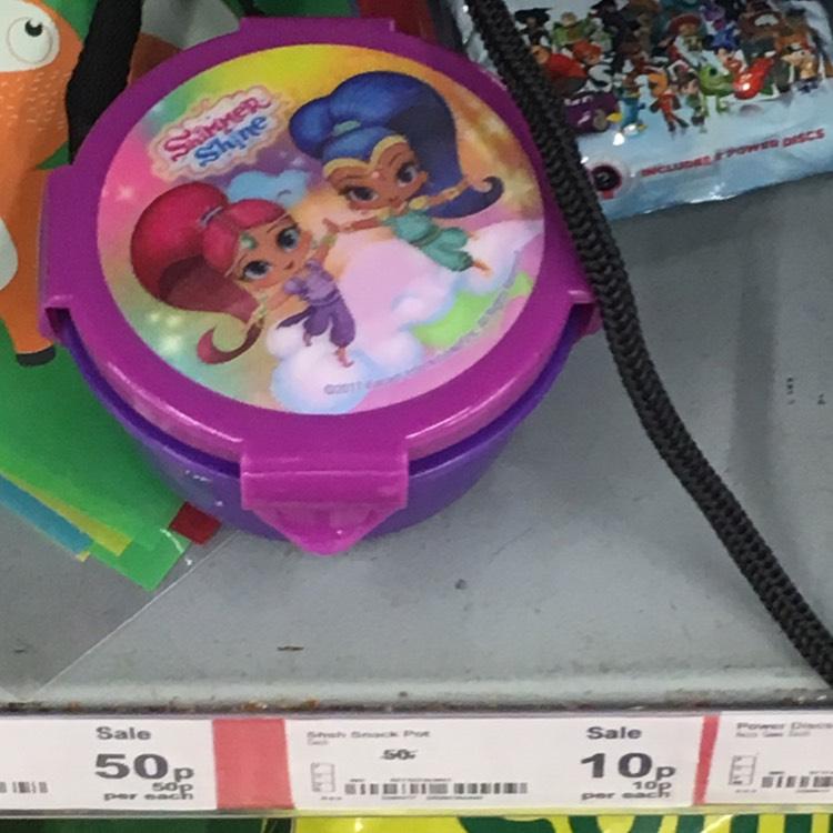 Kids character food pots 10p asda