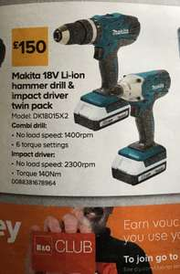 Makita 18V Li-ion hammer drill & impact driver twin pack 25-28 Aug - £150 @ B&Q