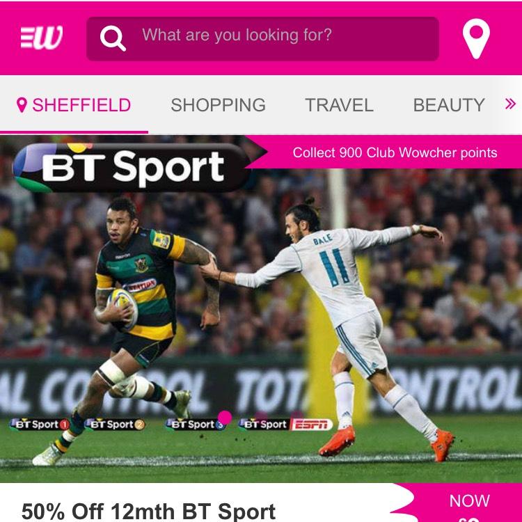 Half price BT sports on wowcher - £9