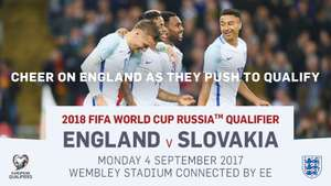 10% off family tickets £18 adults £9 kids England v Slovakia