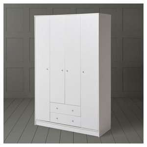 Alban 4-Door, 2-Drawer Wardrobe, White £85 Delivered @ Tesco Direct