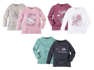 Two long sleeve girls unicorn T shirts £2.99 @ Lidl plus more offers