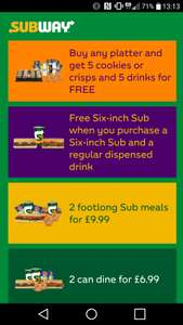 Subway Deals On Demand - free vouchers on your phone