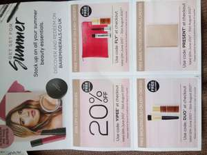Bare Minerals summer vouchers.
