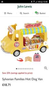 Sylvanian families hot dog truck £18.71 @ John Lewis  (£25 everywhere else) + lots of sylvanian families on offer. See details for links