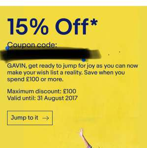 15% off eBay spend £100 or more