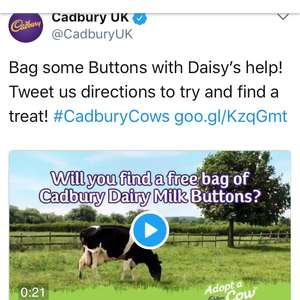 FREE CADBURY BUTTONS - tweet @ CadburyUK to get!