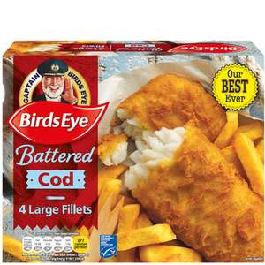 Birds Eye 4 Large Battered Cod (54%​) Fillets (480g) was £4.50 now £3.00 (Rollback Deal) @ Asda