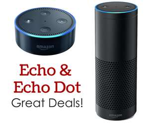 Amazon Echo + Echo dot gen 2 + £10 voucher for £123.99 at Argos