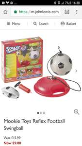 Mookie Toys Reflex Football Swingball was £15.99 now £9 at John Lewis NO MORE BALLS OVER THE BLOODY FENCE! (£2 C+C)