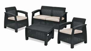 Keter Corfu Outdoor 4 Seater Rattan Furniture Set with Accent Table £159.99 @ Amazon