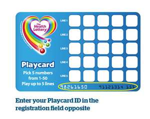 Register a Health Lottery playcard online and get a £5 free welcome bonus