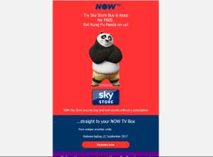 Kung Fu Panda Free with Sky Store/Now TV