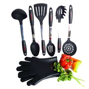 8 Pcs Luxury Cooking Utensils Incl 2 pcs Oven Gloves - Sold by Jais Naturals and Fulfilled by Amazon for £30