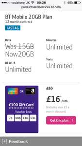 Fantastic BT Sim Only Deal - £16 a months for 12 months plus £100 iTunes/Amazon gift card - £192