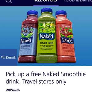 FREE naked smoothie at WHSmith travel stores with o2 priority