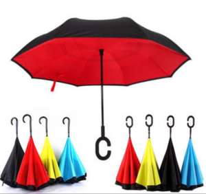 Creative Reverse Double Layer Umbrella Folding Inverted Windproof Car Standing Rain Protection (63% Off)