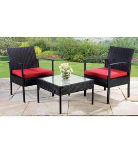3-Piece Rattan-Effect Lounge Set Red/Black (potentially £39.99 with code / including delivery) @ Studio