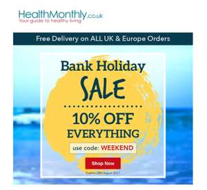 10% of everything at Healthmonthly.co.uk