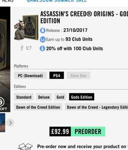 20% off any assassins creed origins edition at Ubistore