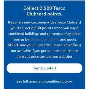 2500 Clubcard Points when taking out Home Insurance @ Tesco Bank