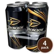 Strongbow Cider 4x440ML Cans £3.50 or £1.75 @ Tesco with Quidco Clicksnap Cashback
