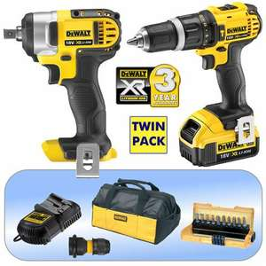 DeWalt DCK261M1-GB 18V XR 4.0Ah Compact Hammer Drill & Impact Wrench Kit at Machine Mart for £118.80