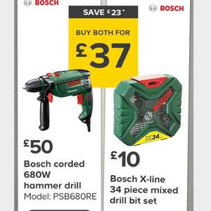 B&Q bank holiday Bosch corded hammer drill & 34 piece drill bit £37