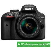 Nikon D3400 DSLR 18-55mm VR lens £374, plus £10 voucher and free accessory kit at Argos