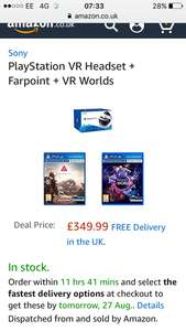 PlayStation VR Headset + Farpoint + VR Worlds at Amazon for £349.99