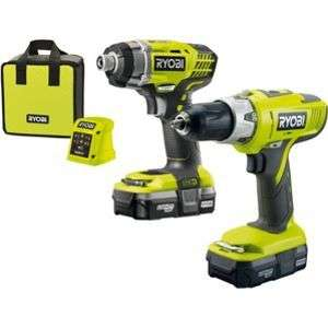 Ryobi One + combi drill, impact driver 2x batteries and 1 charger