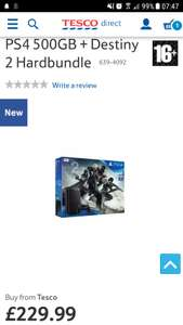 PS4 500GB Slim Destiny 2 bundle (now free delivery) @ Tesco Direct with code TDX-WFTW