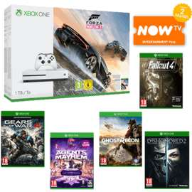 Xbox One S 1TB + Forza Horizon 3 + Gears of War 4 + Agents of Mayhem + Tom Clancy's Ghost Recon: Wildlands + Dishonored 2 + Fallout 4 + NOW TV 2 Months Entertainment Pass £249.99 @ Game