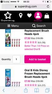 oral b frozen replacement brush x4 at Superdrug for £7.50