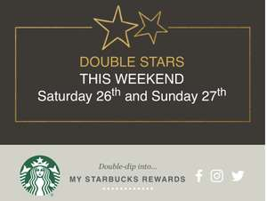 Get Double stars with my Starbucks rewards @ Starbucks this weekend only