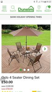 4 seater dining set at Dunelm for £50