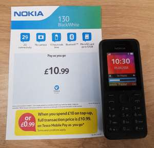 Nokia 130 £0.99 when bought with £10.00 credit top up at Tesco Mobile
