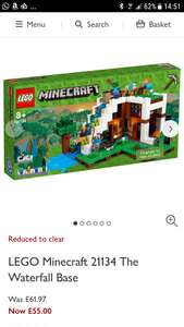 LEGO Minecraft 21134 The Waterfall Base for £55 and 21133 Lego Minecraft Witch Hut for £44 at John Lewis