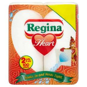 Regina Heart Kitchen Towel 2 Rolls (100 Sheets Total) ONLY £1.00 @ Iceland