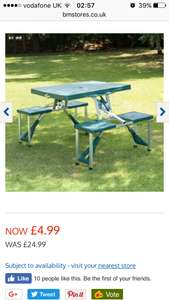 B&M foldable picnic table Was £24.99 NOW £4.99
