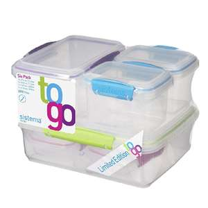 Sistema To Go Food Storage Containers - Multi-Colour, Pack of 6 - £5.97 (Prime) £10.72 (Non Prime)