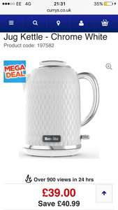 Free delivery BREVILLE Curve VKT117 Jug Kettle - Chrome White at Currys for £39