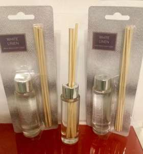 Tesco in store, white linen mini reed diffuser reduced from £3.50 to £0.25p