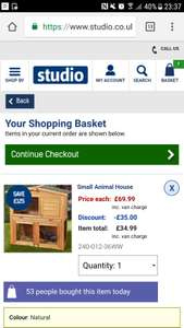 Small animal house / hutch £24.99 @ Studio (online). Various types. Further 50% off at checkout on this model