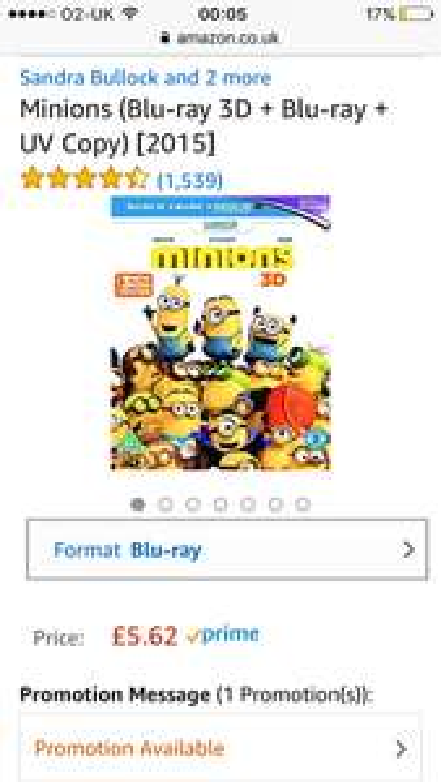Minions 3d blu-ray/blu-ray/digital @ amazon for £5.62 Prime (£7.61 non-Prime)